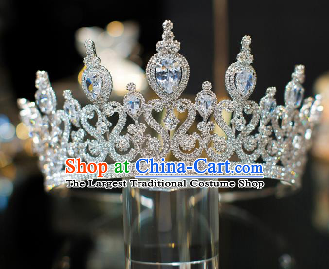 Top Grade Bride Hair Accessories Zircon Crystal Royal Crown Headwear for Women