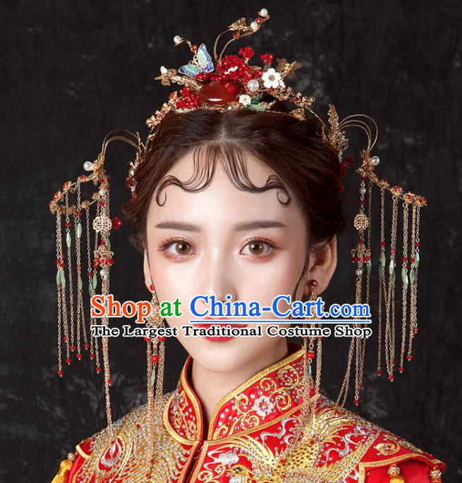 Chinese Ancient Hanfu Wedding Red Agate Phoenix Coronet Hair Accessories Traditional Hairpins for Women