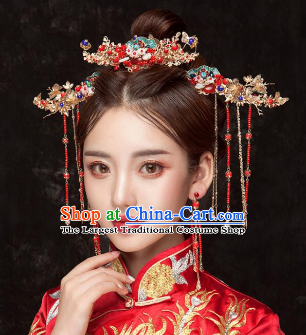 Chinese Ancient Hanfu Wedding Step Shake Hair Accessories Traditional Hairpins for Women