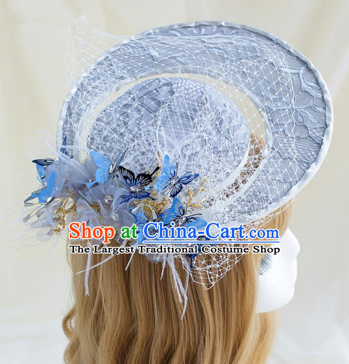 Top Grade Bride Wedding Hair Accessories Grey Top Hat for Women