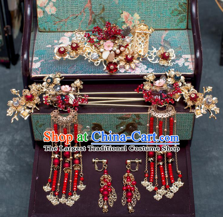 Chinese Ancient Hanfu Wedding Red Beads Hair Accessories Traditional Tassel Hairpins for Women