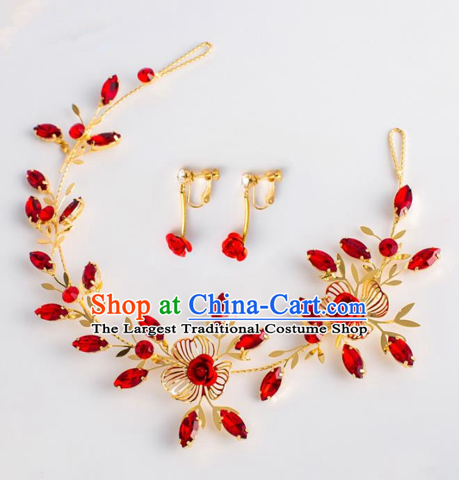 Chinese Ancient Hanfu Wedding Red Crystal Hair Clasp Hair Accessories Traditional Tassel Hairpins for Women