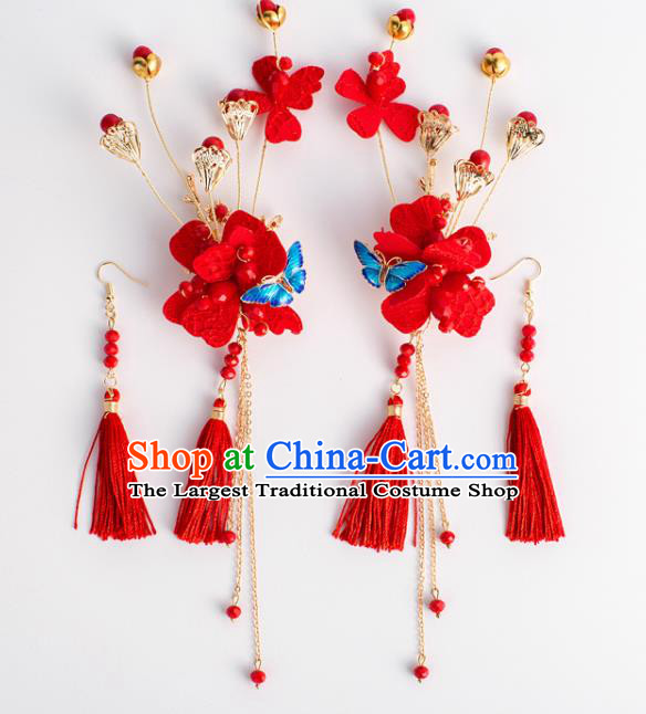 Chinese Ancient Hanfu Wedding Red Tassel Hair Claws Hair Accessories Traditional Hairpins for Women