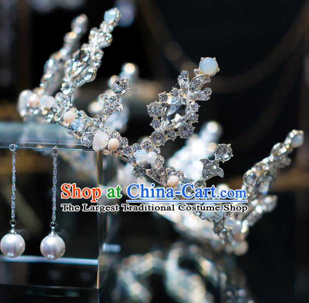 Top Grade Bride Hair Accessories Crystal Round Royal Crown Headwear for Women