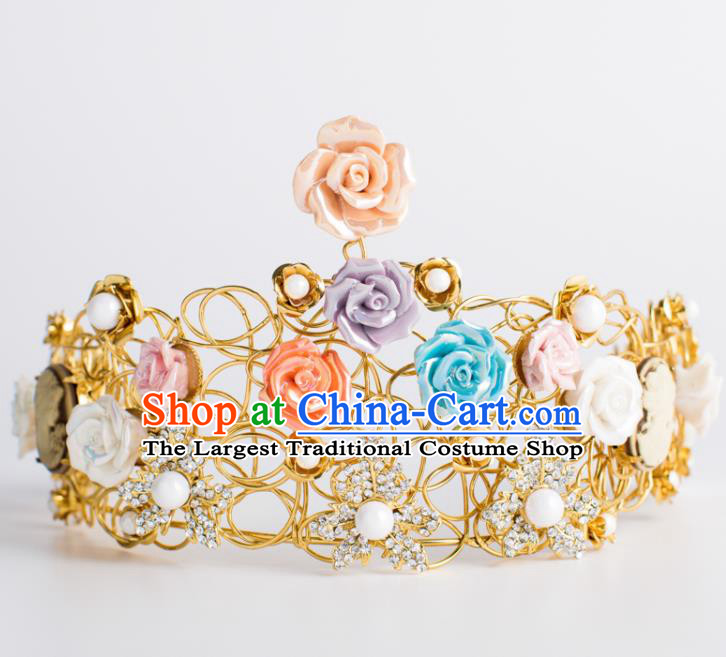 Top Grade Wedding Hair Accessories Bride Colorful Rose Royal Crown Headwear for Women