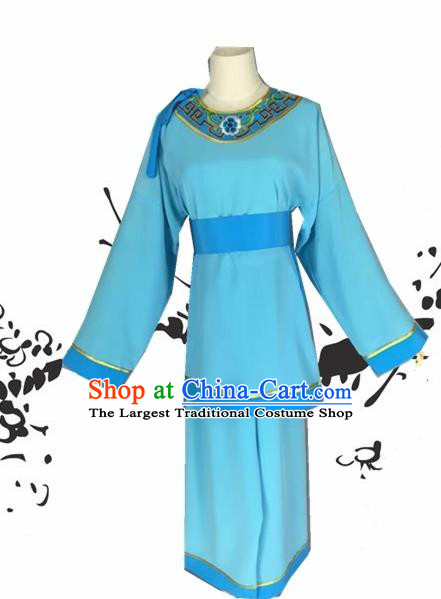 Chinese Beijing Opera Livehand Blue Clothing Traditional Peking Opera Servant Costume for Adults