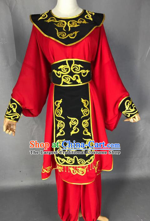 Chinese Beijing Opera Takefu Red Clothing Traditional Peking Opera Young Men Costume for Adults