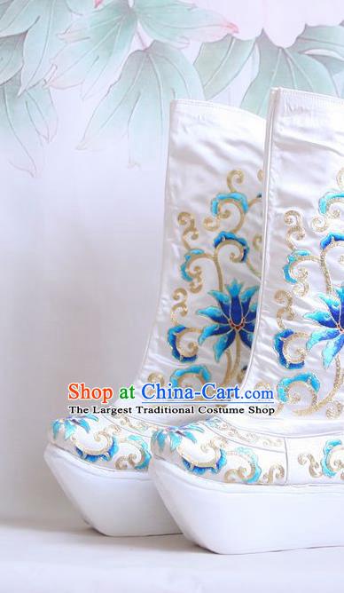 Chinese Traditional Beijing Opera Shoes Takefu White Embroidered Boots for Men