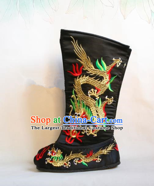 Chinese Traditional Beijing Opera Emperor Shoes Beijing Opera Takefu Black Embroidered Boots for Men