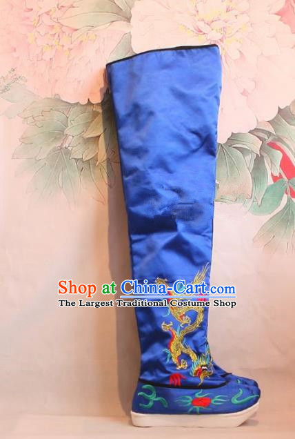 Chinese Traditional Beijing Opera Emperor Shoes Beijing Opera Takefu Blue Embroidered Boots for Men