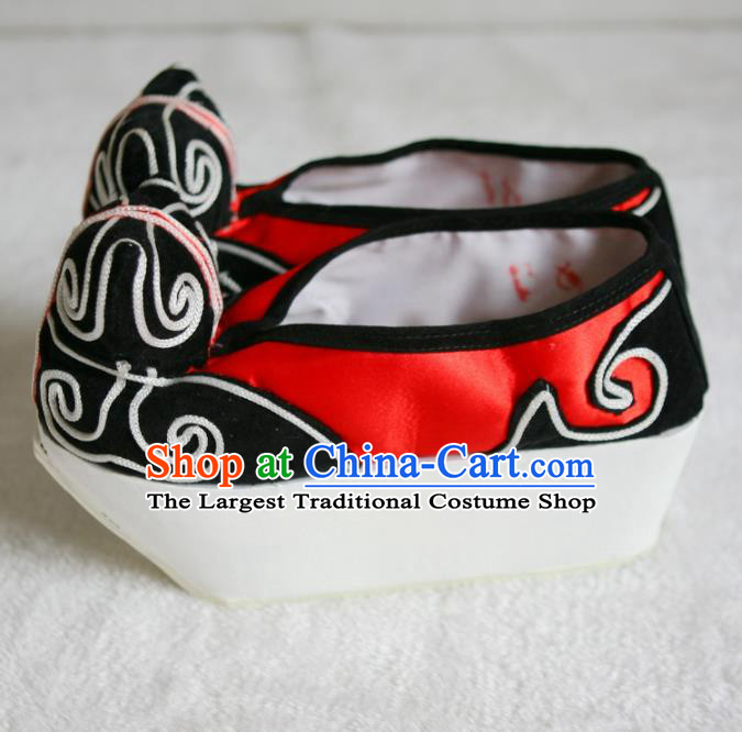 Chinese Traditional Beijing Opera Niche Red Shoes Beijing Opera Cloth Shoes for Men