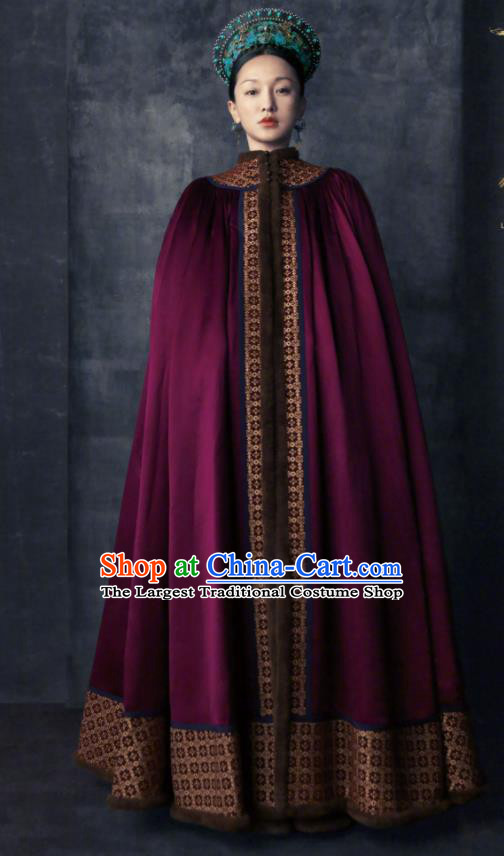 Chinese Ancient Queen Clothing Qing Dynasty Imperial Empress Costume and Headpiece for Women
