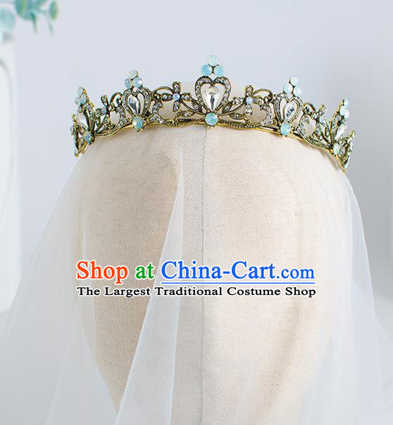 Top Grade Wedding Hair Accessories Bride Blue Crystal Royal Crown for Women