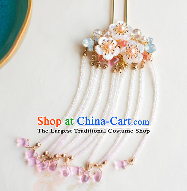 Chinese Ancient Golden Tassel Step Shake Wedding Hair Accessories Traditional Shell Hairpins for Women