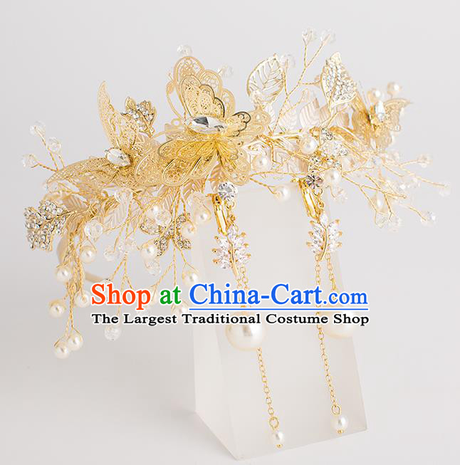 Top Grade Bride Wedding Hair Accessories Golden Butterfly Pearls Hair Clasp for Women