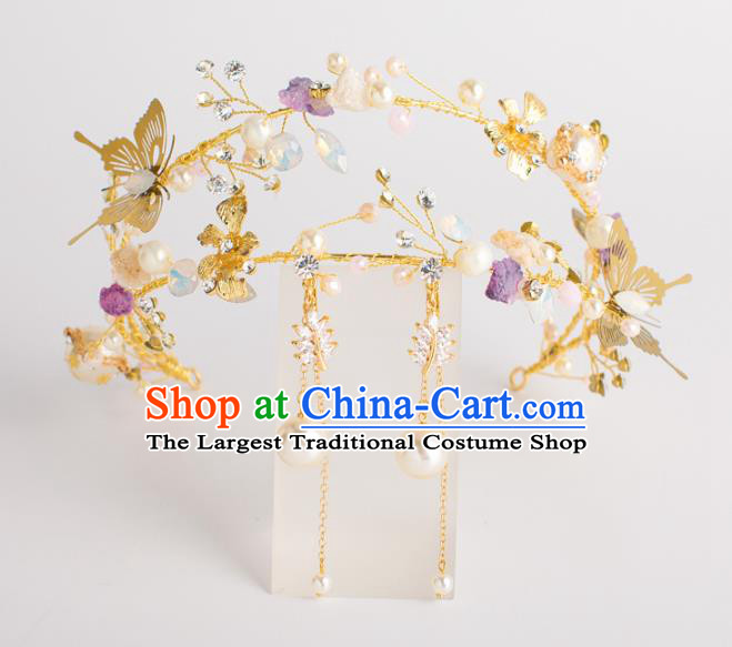 Top Grade Bride Wedding Hair Accessories Golden Butterfly Crystal Hair Clasp for Women