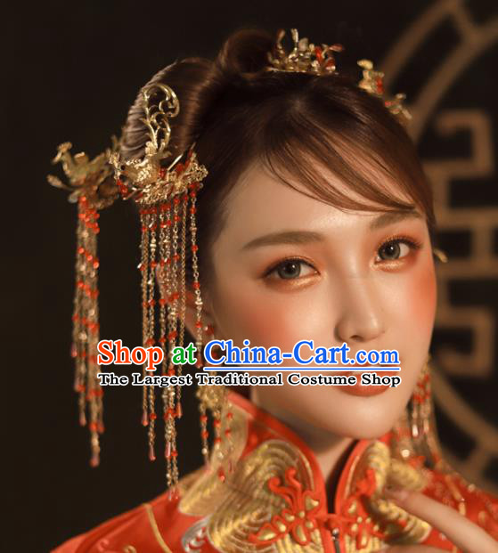 Chinese Ancient Golden Tassel Step Shake Wedding Hair Accessories Traditional Phoenix Hairpins for Women