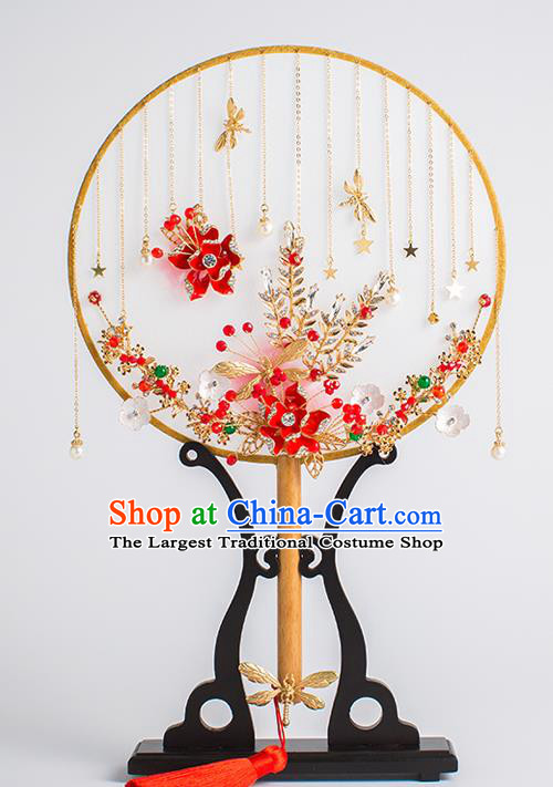 Chinese Traditional Palace Fans Ancient Bride Wedding Tassel Round Fans for Women