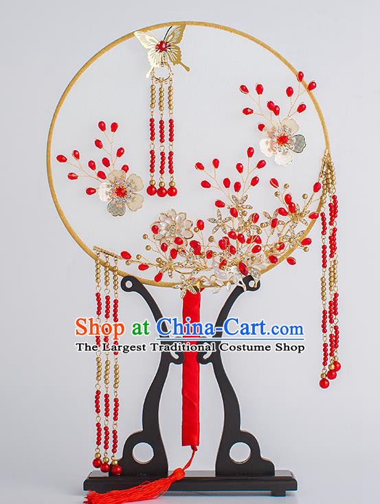 Chinese Traditional Palace Fans Ancient Bride Wedding Red Beads Tassel Round Fans for Women