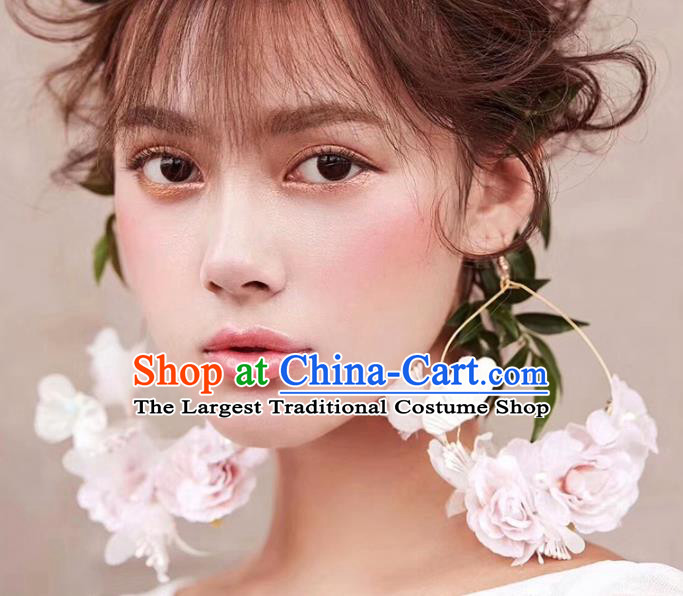 Top Grade Bride Wedding Accessories Pink Flowers Earrings for Women