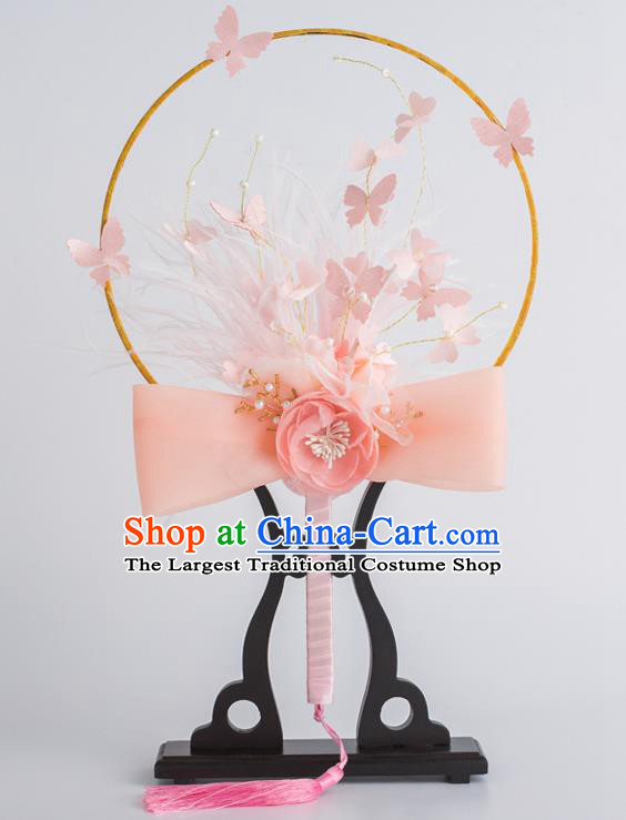 Chinese Traditional Palace Fans Ancient Bride Wedding Pink Feather Flower Round Fans for Women