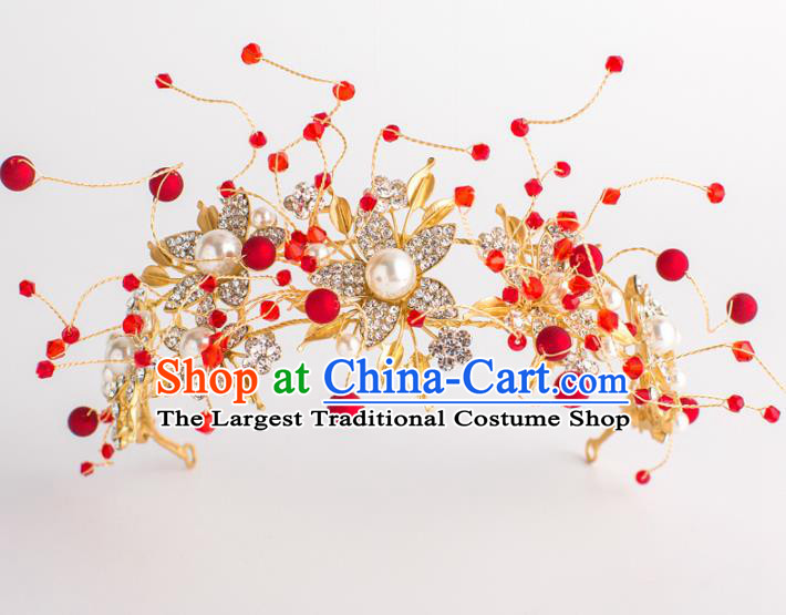 Top Grade Wedding Hair Accessories Bride Retro Golden Royal Crown for Women