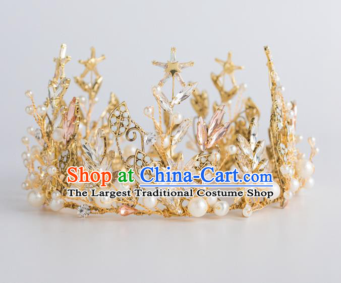 Top Grade Wedding Hair Accessories Bride Retro Golden Pearls Round Royal Crown for Women