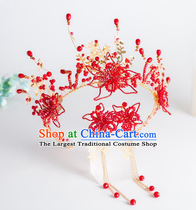 Top Grade Wedding Hair Accessories Bride Retro Red Beads Royal Crown for Women