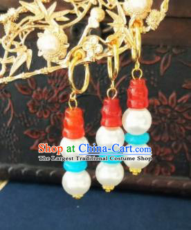 Chinese Ancient Agate White Beads Earrings Qing Dynasty Manchu Palace Lady Three Strings Ear Accessories for Women