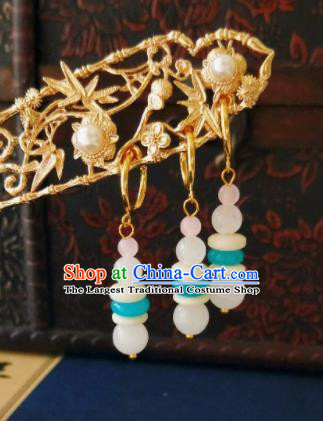 Chinese Ancient Three Strings Jade Beads Earrings Qing Dynasty Manchu Palace Lady Ear Accessories for Women