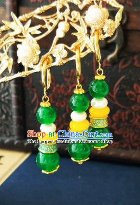 Chinese Ancient Three Strings Green Beads Earrings Qing Dynasty Manchu Palace Lady Ear Accessories for Women