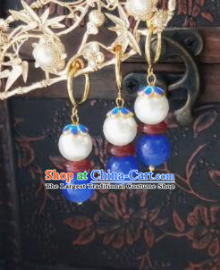 Chinese Ancient Earrings Qing Dynasty Manchu Palace Lady Three Strings Cloisonne Blue Beads Ear Accessories for Women