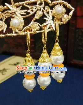 Chinese Ancient Three Strings Pearls Earrings Qing Dynasty Manchu Palace Lady Ear Accessories for Women