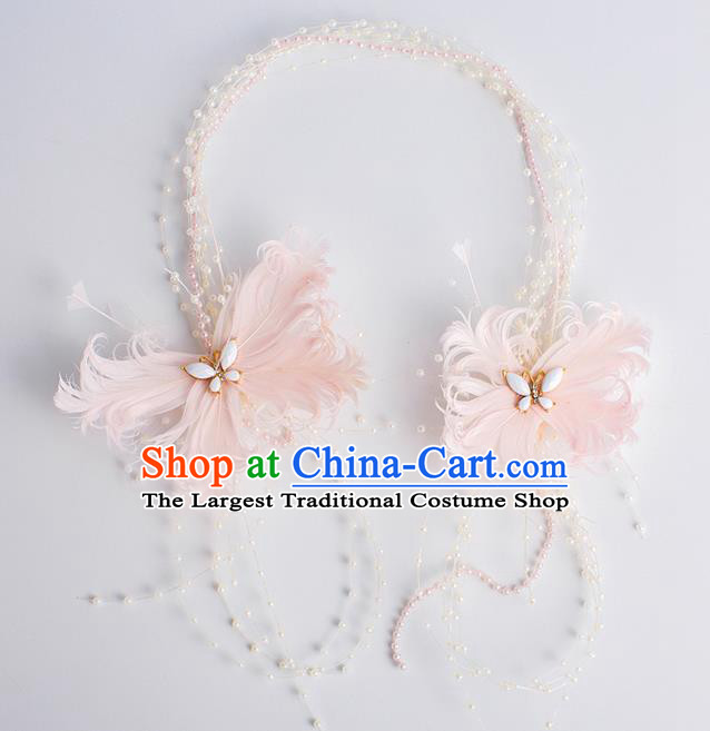 Top Grade Bride Wedding Hair Accessories Pink Feather Hair Clasp for Women
