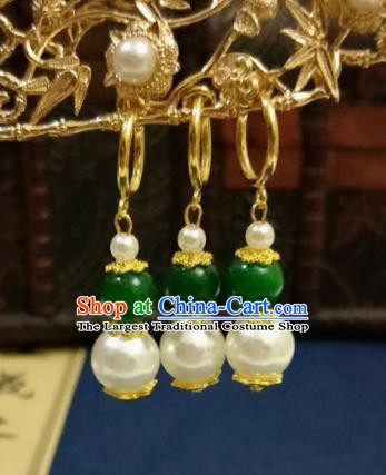 Chinese Ancient Green Pearls Earrings Qing Dynasty Manchu Palace Lady Three Strings Ear Accessories for Women