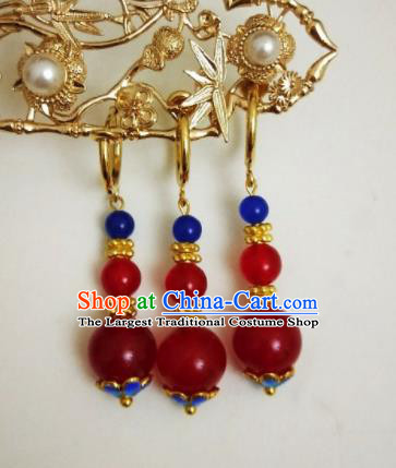 Chinese Ancient Three Strings Red Beads Earrings Qing Dynasty Manchu Palace Lady Ear Accessories for Women