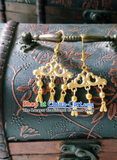 Chinese Ancient Golden Earrings Qing Dynasty Manchu Palace Lady Ear Accessories for Women