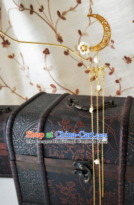 Chinese Ancient Qing Dynasty Hair Accessories Palace Golden Moon Hairpins for Women