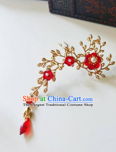 Chinese Ancient Qing Dynasty Hair Accessories Palace Red Flowers Golden Hairpins for Women