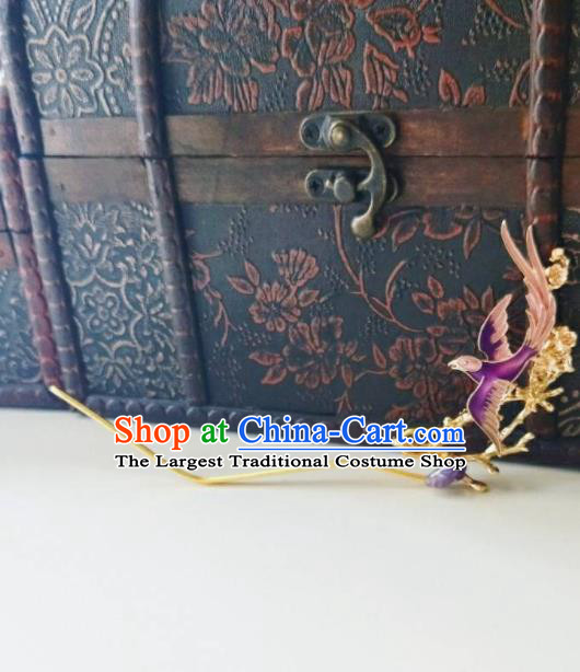 Chinese Ancient Qing Dynasty Hair Accessories Palace Purple Bird Hairpins for Women