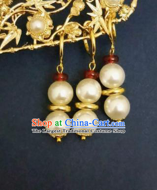 Chinese Ancient Pearls Earrings Qing Dynasty Manchu Palace Lady Three Strings Ear Accessories for Women