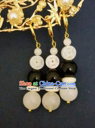 Chinese Ancient White and Black Beads Earrings Qing Dynasty Manchu Palace Lady Three Strings Ear Accessories for Women