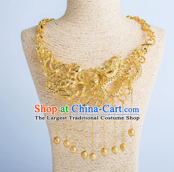 Top Grade Chinese Bride Wedding Accessories Golden Dragon Phoenix Necklace for Women