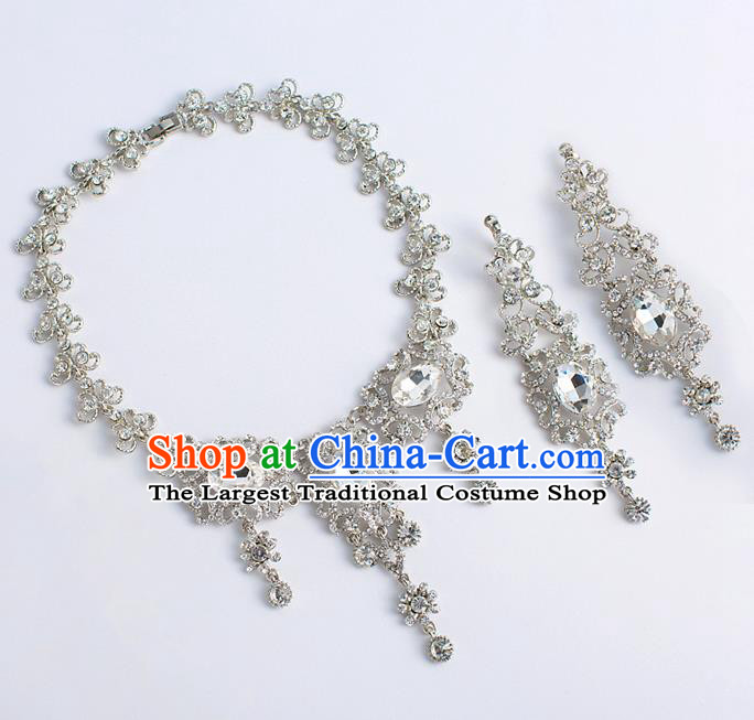 Top Grade Chinese Bride Wedding Accessories Zircon Necklace and Earrings for Women
