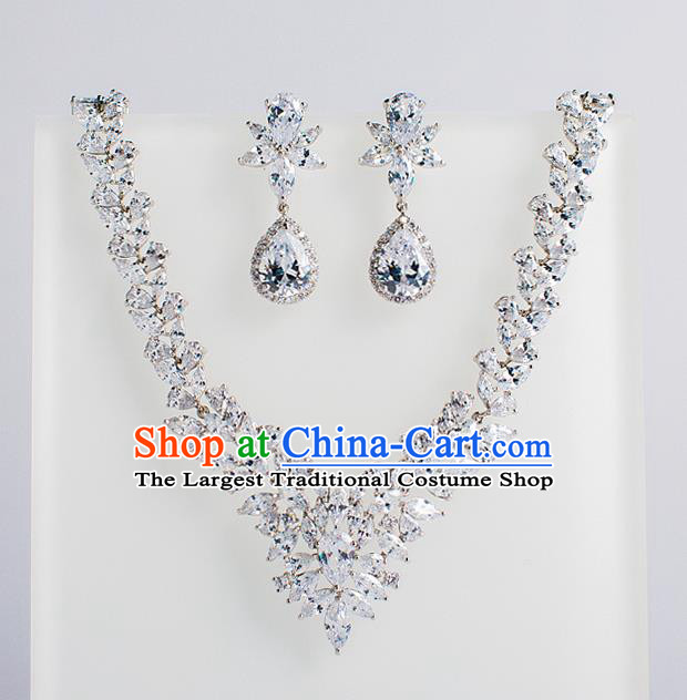 Top Grade Chinese Bride Wedding Accessories Crystal Necklace and Earrings for Women