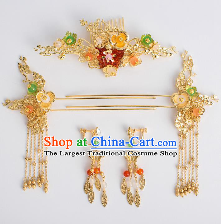 Chinese Traditional Wedding Bride Hair Comb Ancient Hair Accessories Hairpins for Women