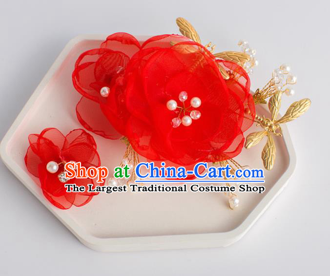 Top Grade Chinese Bride Wedding Hair Accessories Red Silk Rose Hair Stick for Women