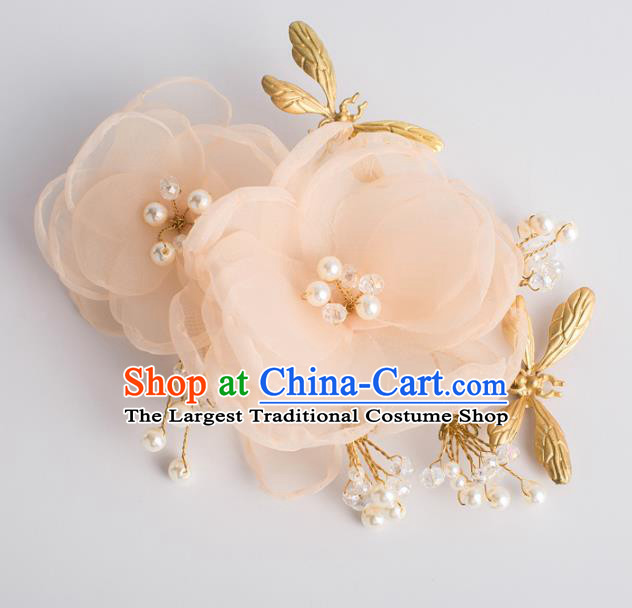 Top Grade Chinese Bride Wedding Hair Accessories Pink Silk Rose Hair Stick for Women