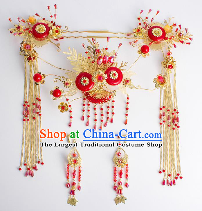 Chinese Traditional Wedding Bride Tassel Step Shake Ancient Hair Accessories Hairpins for Women