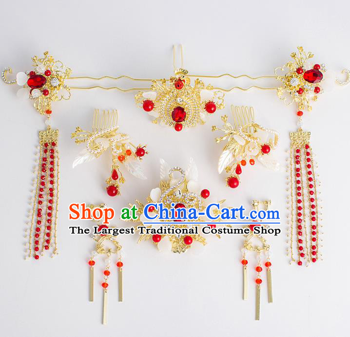 Chinese Traditional Wedding Bride Crystal Hair Clip Ancient Hair Accessories Hairpins for Women
